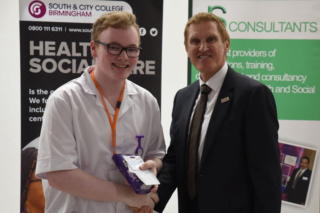 2nd place Dylan Duff City of Glasgow College with Mike Hopkins Principal of SCCB