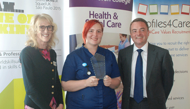 Pat Denham OBE, Vice Principal & Deputy CEO at South Devon College, Winner Charlotte Ludwell and Marc Jones of Profiles4Care