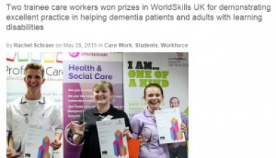 Community Care Magazine article on WorldSkills Heats