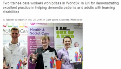 Community Care Magazine article on WorldSkills Heats
