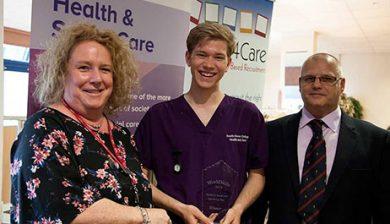 Theresa Elliot of CACHE, Heat 1 Winner William Malcher and Mark Poland of Profiles4Care